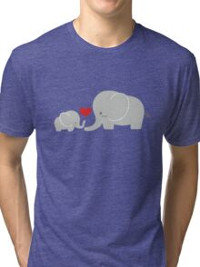 Baby and parent elephant with heart Tri-blend T-Shirt