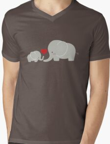 Baby and parent elephant with heart Mens V-Neck T-Shirt