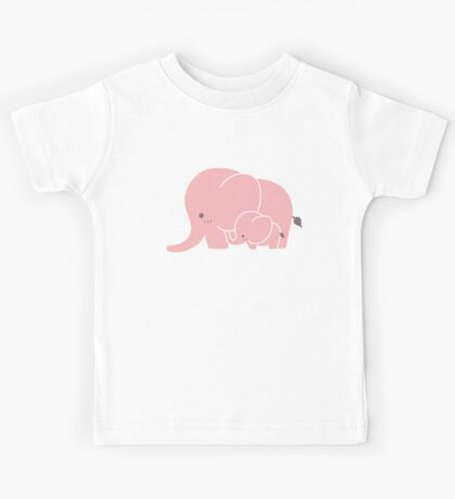 Pink elephant mother and baby Kids Tee