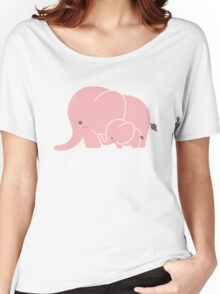 Pink elephant mother and baby Women's Relaxed Fit T-Shirt