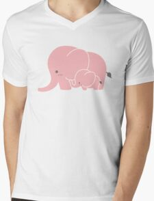Pink elephant mother and baby Mens V-Neck T-Shirt