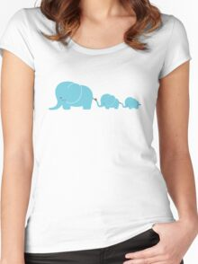 Elephant family following each other Women's Fitted Scoop T-Shirt