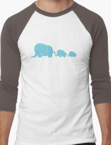 Elephant family following each other Men's Baseball ¾ T-Shirt