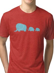 Elephant family following each other Tri-blend T-Shirt