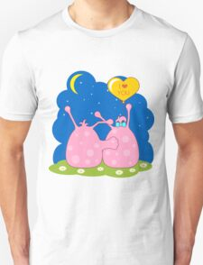Couple of cute pink monsters looking at the moon T-Shirt