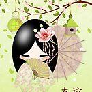 Friendship, Kokeshi Doll by Moonlake