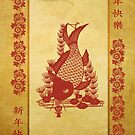 Chinese New Year, With Koi Carp Flowers And Calligraphy by Moonlake