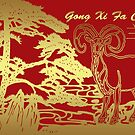 Chinese New Year Greeting Card Year Of The Ram Gong Xi Fa Cai by Moonlake