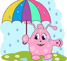Cute pink monster with umbrella by NonikaStar