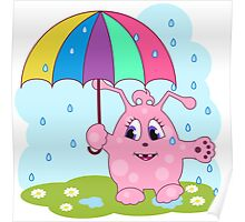 Cute pink monster with umbrella Poster