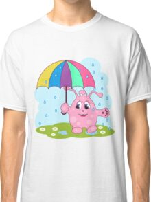 Cute pink monster with umbrella Classic T-Shirt