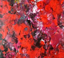 Lush modern red abstract flower field painting in acrylics by 7RayedDesigns