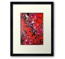 Lush modern red abstract flower field painting in acrylics Framed Print