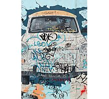 Blue Trabant car in Berlin  Photographic Print
