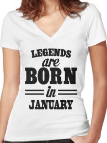 Legends are born in JANUARY Women's Fitted V-Neck T-Shirt