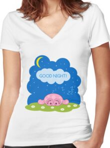 Sleeping cute pink monster Women's Fitted V-Neck T-Shirt