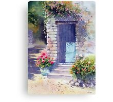 Sunlit Door with Geraniums Canvas Print
