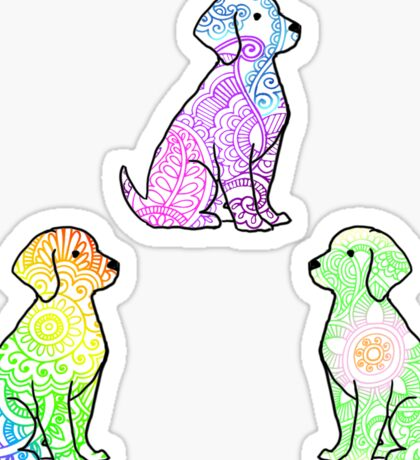 Tie Dye Cute Puppies Pack 2 Sticker