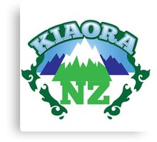 KIAORA NZ New Zealand funny with mountains and map Canvas Print