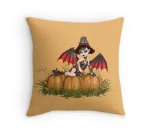 Demon Witch and the Pumpkins Throw Pillow