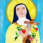 An acrylic painting of St Theresa - The Lady of the Roses by Dennis Melling
