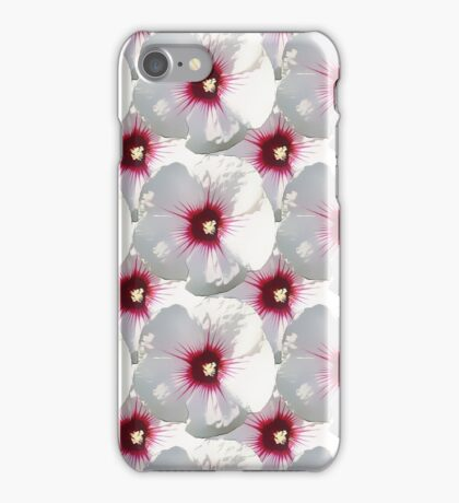 Natural Flowers Series - White and Violet Hisbiscus iPhone Case/Skin