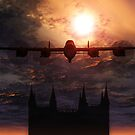 Lancaster Bomber Over Lincoln Cathedral  by Moonlake