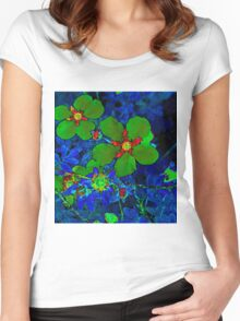 Green Potentilla Women's Fitted Scoop T-Shirt