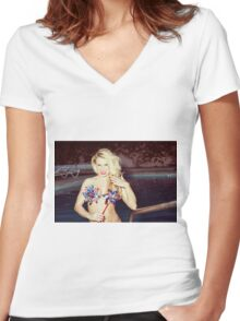 American Blonde Beauty 9198 Women's Fitted V-Neck T-Shirt