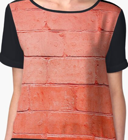 Red background of bricks with a layer of paint closeup Chiffon Top
