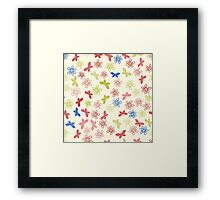Color floral pattern with flowers and butterfly Framed Print