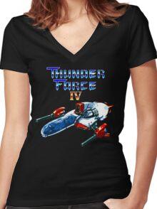 Thunder Force IV (Mega Drive Title Screen) Women's Fitted V-Neck T-Shirt