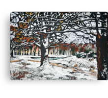Winter landscape with oak trees in a park Canvas Print