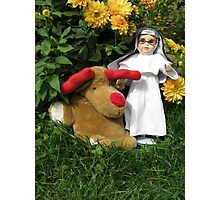Little Theresa the Child Nun and Pooch (the doorstop) in Our Garden in Romania Photographic Print
