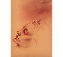 Michelangelo head study #2 - Original terra cotta chalk pastel & prisma pencil drawing Photographic Print