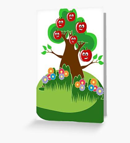 Anthropomorphic Happy Apples Tree Art Greeting Card