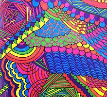 Colorful Geometric Patterned Line Drawing by dearmoon