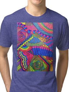 Colorful Geometric Patterned Line Drawing Tri-blend T-Shirt