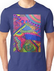 Colorful Geometric Patterned Line Drawing Unisex T-Shirt