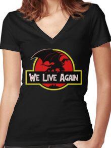 We Live Again - Gargoyles Jurassic Park Women's Fitted V-Neck T-Shirt