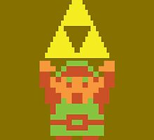 Legend of Zelda 8-bit Link Triforce by MrPickIes