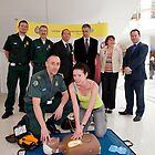 London Ambulance Service show the public  how to use a Defibrillator by Keith Larby