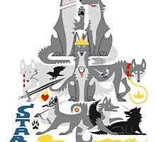 The Stark Direwolves by kisindian
