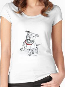 Happy Staffie Women's Fitted Scoop T-Shirt
