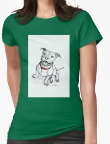 Happy Staffie Womens Fitted T-Shirt