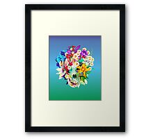 skull and flowers Framed Print