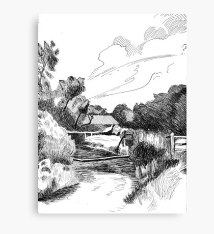 Welcoming Farm - Pen & Ink Canvas Print