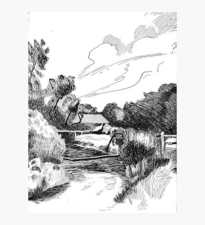 Welcoming Farm - Pen & Ink Photographic Print