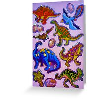 Several colorful dinosaurs Greeting Card