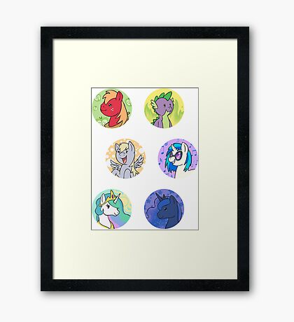 Sticker Badges - My Little Pony Secondaries! Framed Print